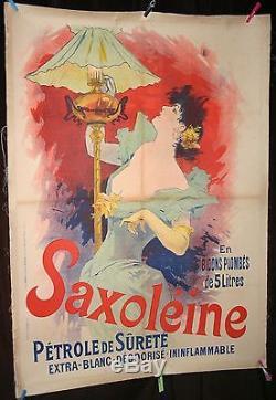 AFFICHE PUBLITAIRE Originale Lithographie 1890 jules CHERET PETROLE SAXOLEINE