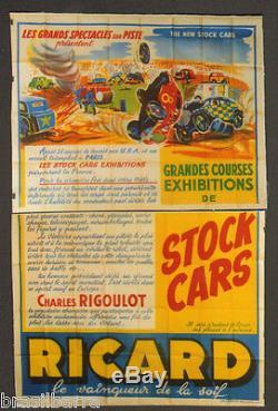 AFFICHE PUB COURSES STOCK CARS (RICARD) 1954 En deux panneaux