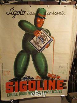 Affiche Sigoline Huile Olive Pour Auto Bonhomme Grape Olives Marrant