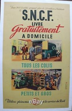 AFFICHE SNCF 1947 TRACTEUR semi remorque FAR F. A. R. Camion scammel scarab poster