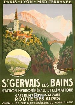 AFFICHE ST GERVAIS LES BAINS DE GEO DORIVAL 1913 POUR LE PLM MONT BLANC