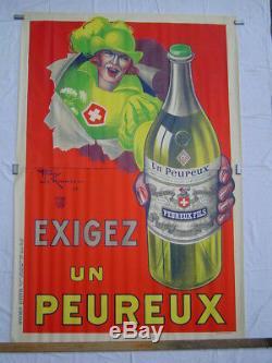 AFFICHE lithographie original ANIS UN PEUREUX / FOUGEROLLES / LEMONNIER 1925