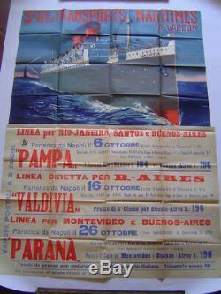 AFFICHE lithographie original PAQUEBOT VALDIVIA SGTM / AMERIQUE DU SUD 1903