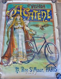 AFFICHE lithographique originale c 1900 CYCLES ACATENE par Lucien BAYLAC