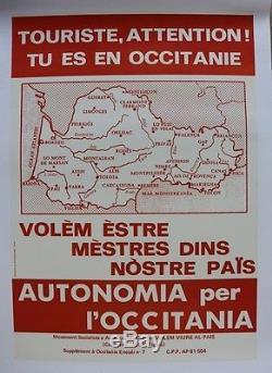 AFFICHE originale OCCITANIA OCCITAN OCCITANIE VOLEM VIURE AL PAÏS AUTONOMIE