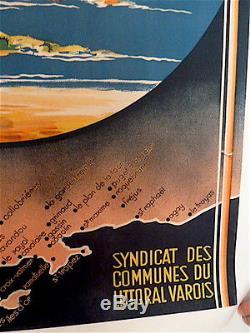 AFFICHE originale SNCF COTE D AZUR VAROISE MORERA Var publicité publicitaire