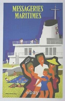 AFFICHE tourism poster compagnie MESSAGERIES MARITIMES Jean DESALEUX paquebot MM