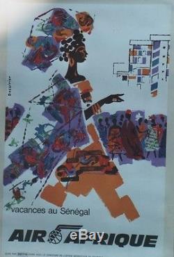 AIR AFRIQUE SENEGAL Affiche originale entoilée années 60 DESSIRIER 68x105cm