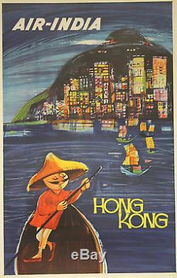 AIR-INDIA (HONG KONG) Affiche Indienne originale entoilée années 50