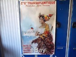 ANCIENNE AFFICHE 1950 TOURISME Cie Gle TRANSATLANTIQUE SIGNEE BRENET ANTILLES