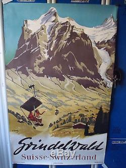 Ancienne Affiche 1950 Tourisme Grindelwald Signee Koller Suisse Switzerland