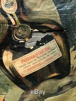 ANCIENNE AFFICHE PUBLICITAIRE FEUILLANTINE LIQUEUR IMPRIMERIE VIEILLEMARD alcool