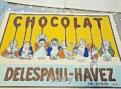ANCIENNE PUBLICITE CARTONNEE CHOCOLAT DELESPAUL HAVEZ années 50