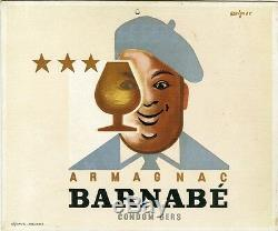 ARMAGNAC BARNABE Carton original par SAVIGNAC de 1945 Litho 24x20cm