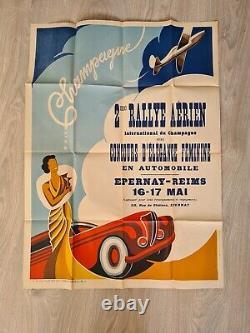 AUTHENTIQUE AFFICHE 1949 2è RALLYE AERIEN EPERNAY REIMS concour auto 78 X 57 CMS