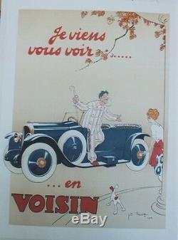 AUTOMOBILE VOISIN Affiche litho entoilée José BRIDGE 1922 58x78cm