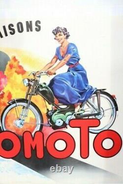 AUTOMOTO AFFICHE ANCIENNE ORIGINALE MOTO CYCLOMOTEUR VAP cyclo TREFLE 4 SAISONS