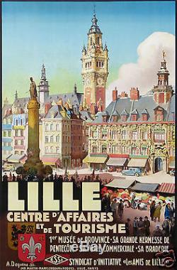 A. Dequene Affiche Ancienne 1930 Lille Centre D'affaire Et De Tourisme