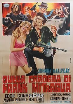 A TOUT CASSER Affiche originale italienne entoilée (Johnny HALLYDAY)