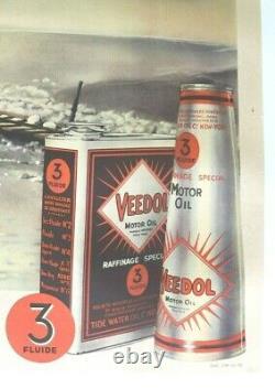 Affiche 1935 Citroen Kegresse Huile Veedol Byrd Pole Sud Croisiere Jaune Noire