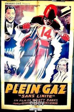 Affiche 1936 moto PLEIN GAZ = NO LIMITE Monty BANKS Georges Formby MOTORCYCLE