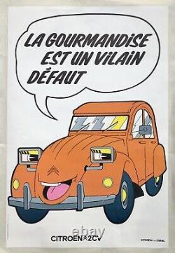 Affiche 2CV CITROËN La Gourmandise est un Vilain Défaut