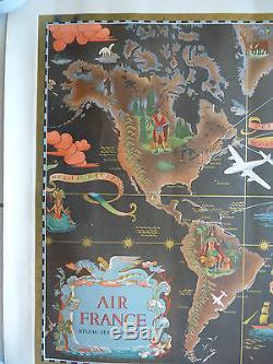 Affiche AIR FRANCE par Lucien Boucher, planisphère. Affiche originale