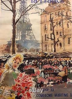 Affiche Albert Brenet La France Compagnie Maritime Des Chargeurs Réunis 1950