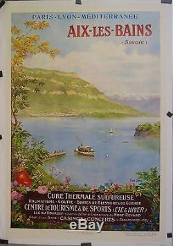 Affiche Ancienne 1917 PLM Aix les Bains vue d'Hautecombe par P Comba entoilée