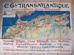 Affiche Ancienne 1920 Cie Gnl Transatlantique Algerie Tunisie Maroc Automobile