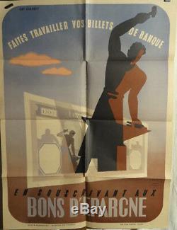 Affiche Ancienne 1939/40 Emprunt Homme Graphique