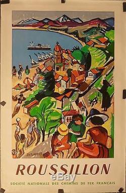 Affiche Ancienne 1952 SNCF Roussillon par Desnoyer entoile bon état