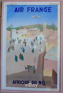 Affiche Ancienne AIR FRANCE AFRIQUE du NORD par Even Havas ref P8/50