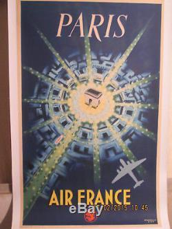 Affiche Ancienne Air France Paris Place Etoile Avion Deco