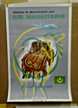 Affiche Ancienne Air Mauritanie Paul Bory Monaco