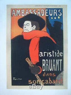 Affiche Ancienne Ambassadeurs Aristide Bruant Cabaret Toulouse Lautrec 1906