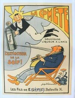 Affiche Ancienne Anis Absinthe La Comete E. Camus Extincteur Belleville S/s 69