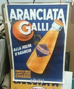 Affiche Ancienne Aranciata Galli Chiasso Italie Orange