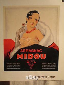 Affiche Ancienne Armagnac Femme Deco