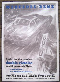 Affiche Ancienne Auto 24 Heures Du Mans Mercedes Benz 300 Sl Circa 1955