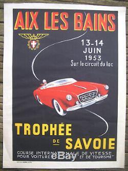 Affiche Ancienne Auto Automobile Course Trophée De Savoie Aix Les Bains 1953