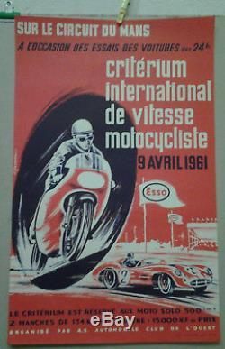 Affiche Ancienne Automobile 24 Heure Du Mans Auto Moto 1961 Leygnac