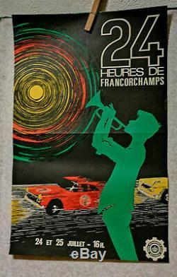 Affiche Ancienne Automobile 24 Heures De Francorchamps Belgique