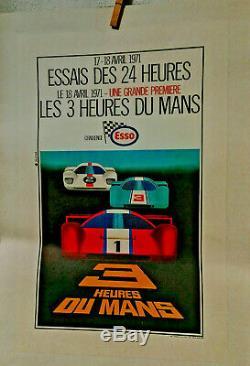 Affiche Ancienne Automobile Essais 24 Heures Du Mans 1971