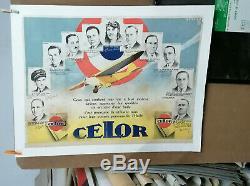 Affiche Ancienne Automobile Huile Celor Garage Aviation