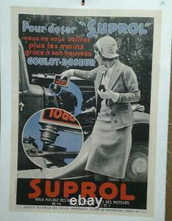 Affiche Ancienne Automobile Huile Suprol 1934 Garage