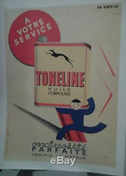 Affiche Ancienne Automobile Huile Toneline Jimo 1935 Garage