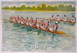 Affiche Ancienne Aviron Huit 8 Barré Sport Nautique Rowing CI 1900