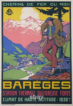 Affiche Ancienne Bareges Station Thermale Chemin De Fer MIDI Par Delormoz Ci1930