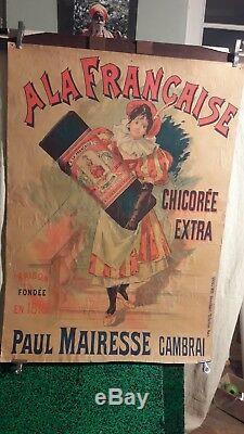 Affiche Ancienne Belle Femmme 1900 Chicoree A La Francaise